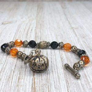 Halloween Fall Pumpkin Beaded Toggle Bracelet
